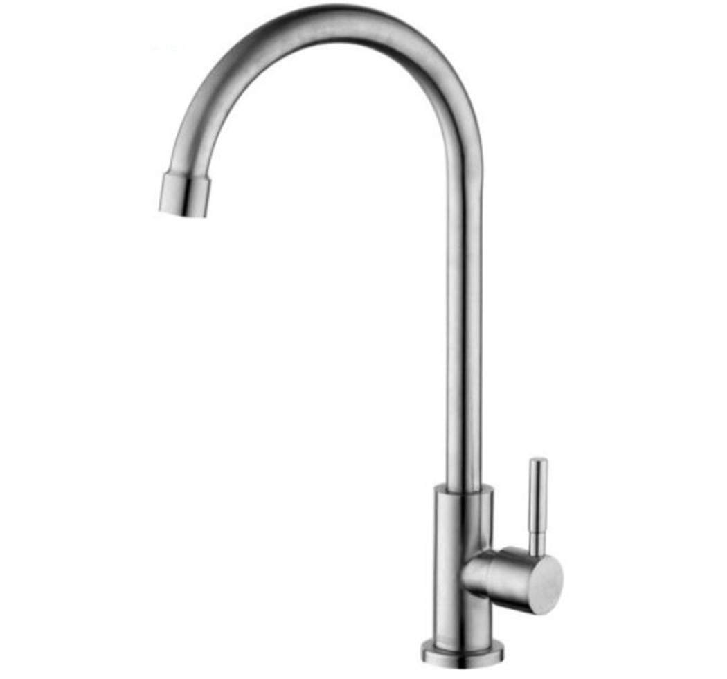 Taps Mixer Swivel Faucet Sink 304 Stainless Steel Faucet Single-Cold Kitchen Sink Washing Basin Faucet Single-Water Faucet