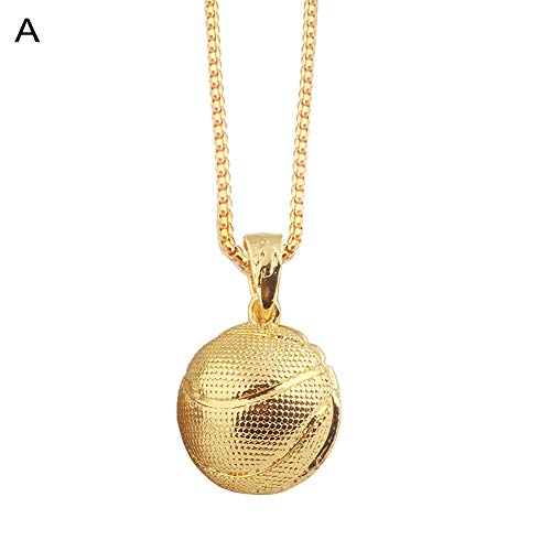 Necklace soAR9opeoF Rugby Basketball Pendant Chain Necklace Men Women Sports Party Jewelry Gift - -