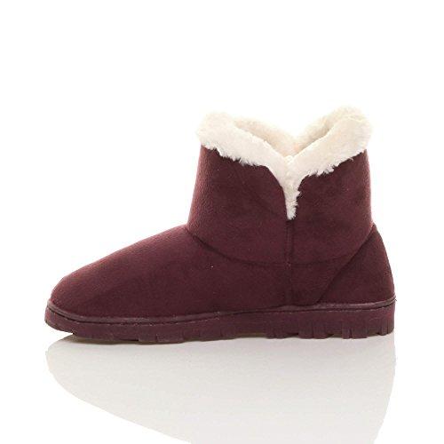 Chaussons Fausse Bordeaux Rouge Chaude Chaussures Bottines Femmes Luxueux Fourrure Foncé Ajvani Pointure qWY7Hx