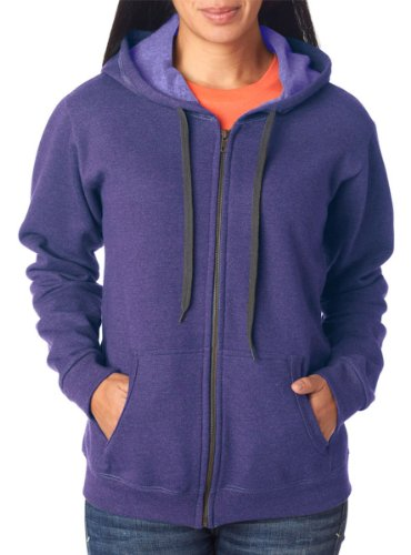 Gildan Women's Vintage Classic Full Zipper Hooded Sweatshirt, Lilac, X-Large