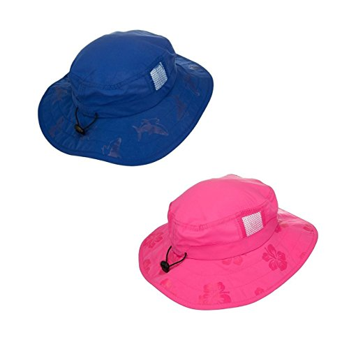 Girls Sun Hat Cap - Sun Protection Zone Kids UPF 50+ Safari Sun Hat, Uv Sun Protective, Velcro Straps - Blue & Pink Set