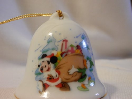 Disney Porcelain Bell, Santa Mickey and Donald Duck Delivering Toys