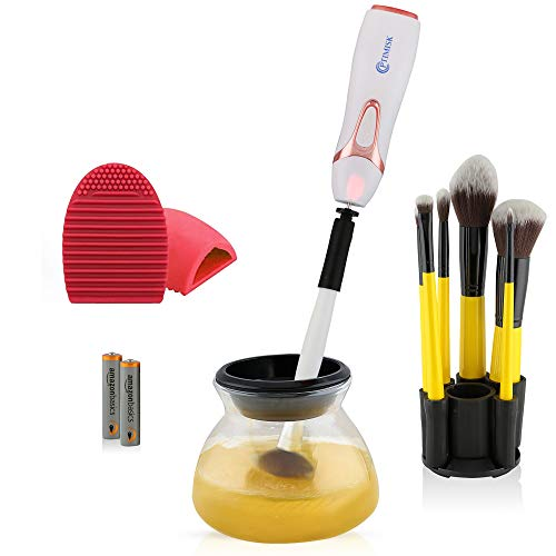 (Makeup Brush Cleaner and Dryer, Easily Clean and Dry Brushes in seconds using an Electronic Spinner Machine, Portable Kit Completely Cleans + Automatic Dries, Includes Gift, Travel, Professional)