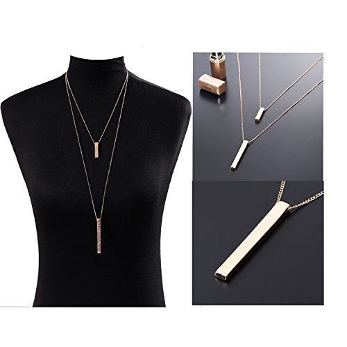 JYJ Long Layered Necklace for Women Bar Pendant Choker Necklace Gold Strands by JYJ (Image #1)