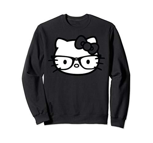Hello Kitty Black and White Nerd Glasses Sweatshirt