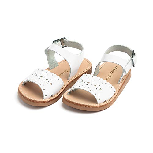 (Freshly Picked - Laguna Baby Girl Leather Sandals - Size 3 White Patent)