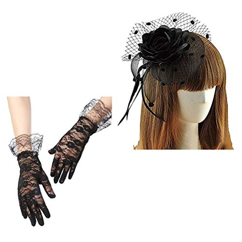 Keylleen Fascinator Hair Clip Veil Wedding Bridal Headwear for Women, Hair Clip + Lace Bridal Wedding Gloves]()