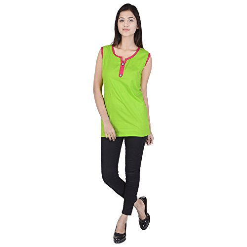 Purvahi Women's Cotton Sleeveless Solid Casual Top