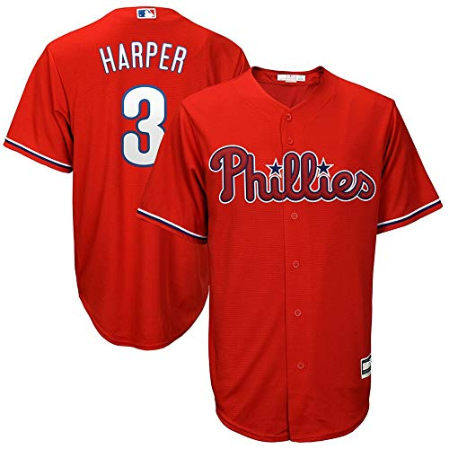 Mitchell & Ness #3 Bryce Harper Philadelphia Phillies Cool Base Player Jersey - Scarlet XXL