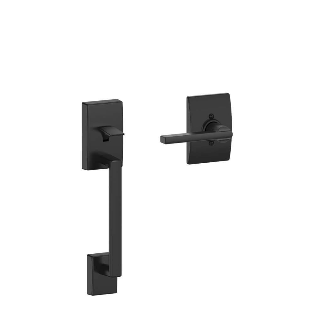 Schlage Century Front Entry Handle and Latitude Interior Lever with Century trim (Matte Black) FE285 CEN 622 LAT CEN