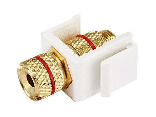 Monoprice 108436 Keystone Jack-Banana Jack with Red Ring (Screw Type), White