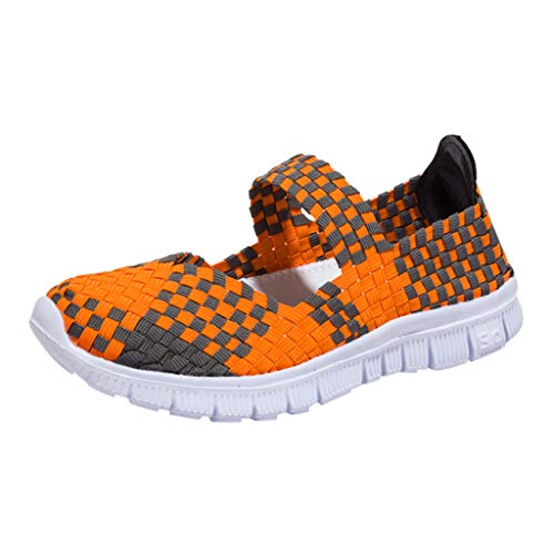 Sunhusing Women's Woven Breathable Elastic Band A Pedal Lazy Flat Shoes Casual Sneakers Running Shoes Orange