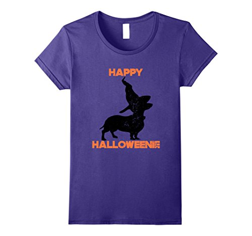 Dachshund Weiner Costume (Womens Happy Halloweenie T-Shirt Dachshund Gift Small Purple)
