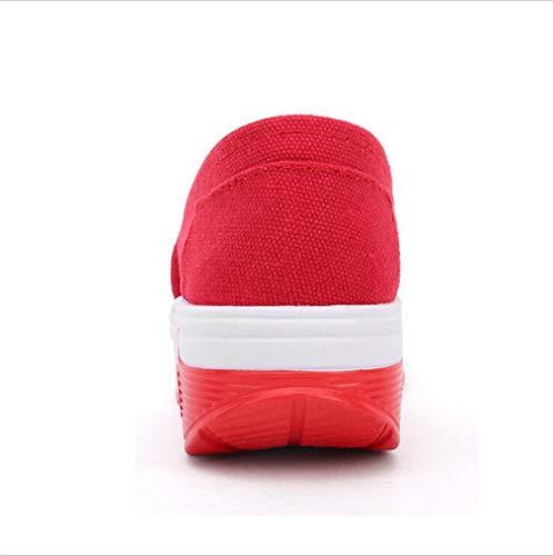 EIN Neue Weiß Schuhe Schwarzes Die Erschütterungs Luftkissen Fallen beiläufige Segeltuch Exing Schuhe Beleg der Schuhe Frauen Rot auf Schuhen Faulen UHxwXqa
