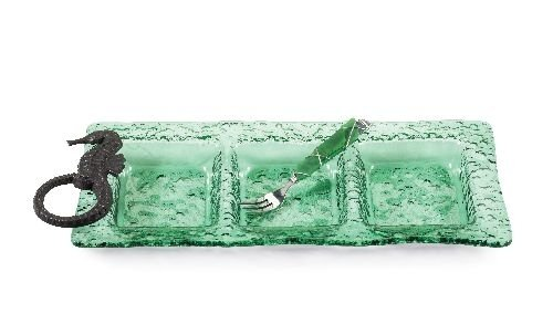 Seahorse Green Glass Triple Sectioned Server Platter with Cocktail Fork Mud Pie (Sea Cake Breaker)