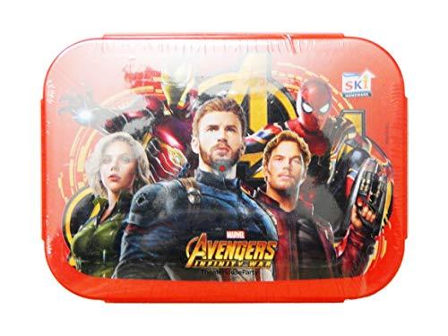 ThemeHouseParty Cartoon Print Marvel Avenger (RED) Tacos 800ml Steel Lunch Box for School Going Children, Boys, Girls, Return Gift, Birthday Gifts