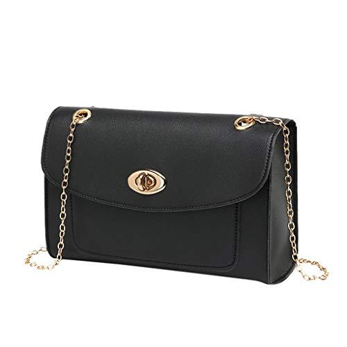 (DZTZ Fashion Momen's Solid Color Chain Shoulder Bag Messenger Bag Mobile Phone Bag (Black))