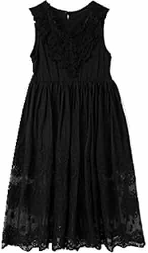 251d1b57e40 Bow Dream Off White Black A-line Sleeveless Vintage Lace Flower Girl s Dress