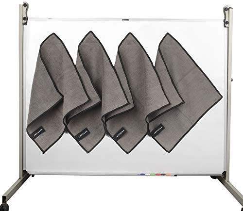 (4 Pack Magnetic Cleaning Cloth Dry Erasers For White Boards - Extra Strong Magnet - Compatible with all Whiteboards - Perfect For Classroom, Home and Office Use - Reusable and)