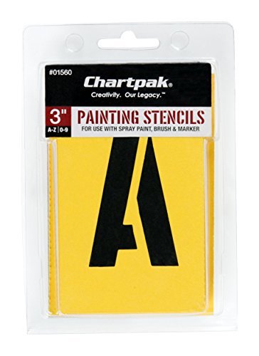 Chartpak Letter and Number Painting Stencils, A-Z and 0-9, 3 Inches H, 35 per Pack (01560) - Vinyl Template