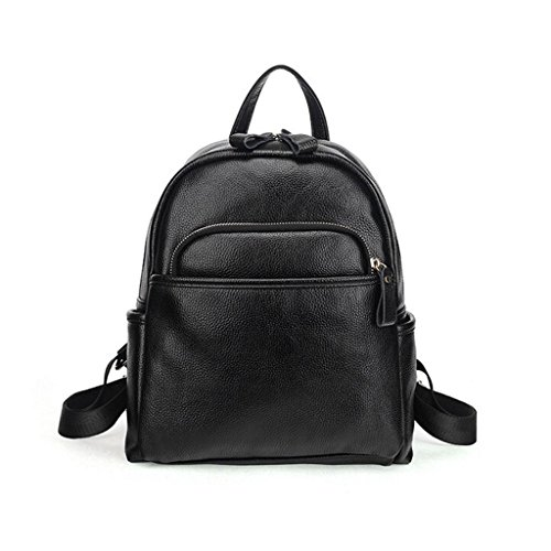 Cowhide Student cover Soft amp;F bag ZY Leather Travel Genuine material backpack pattern skin Litchi backpack Ms Uxwqv1z