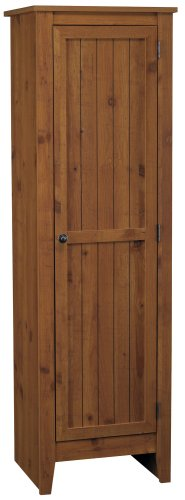 System Build Milford Single Door Storage Pantry Cabinet, Old Fashioned (Pine Cabinet Doors)