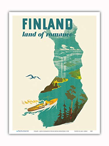 Pacifica Island Art - Finland - Land of Romance - Ship Cruising The Fjords - Vintage World Travel Poster by Helge Mether-Borgström c.1950 - Master Art Print - 9in x 12in (Ship Travel Vintage Poster)