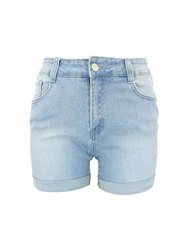 Xudom Womens Light Wash Denim Bermuda Shorts Mid Waist Body Enhancing Curvy Cutoff Outfit Light Blue US ()