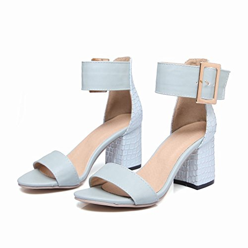 Carolbar Women's Fashion Concise Stone Patterns Block High Heel Sandals Blue UbK4gqi7k