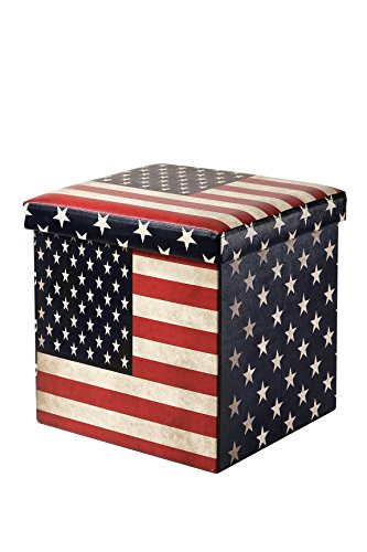 Juvale Faux, Folding Wooden, Leather, Storage Cube/Ottoman Foot Rest American Flag Print - 15 Inches