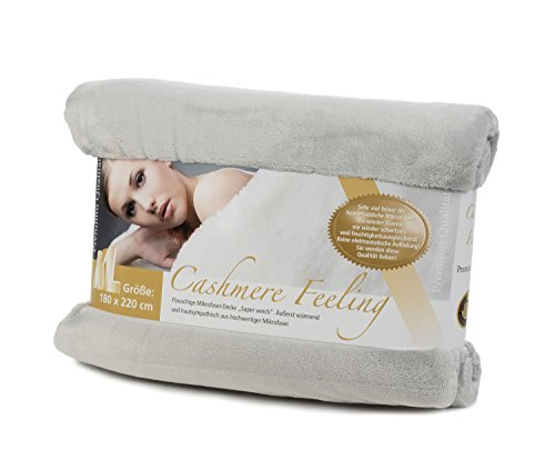Gzze-Premium-Cashmere-Feeling-Wohn-und-Kuscheldecke-180-x-220-cm-Silber-40128-90-180220