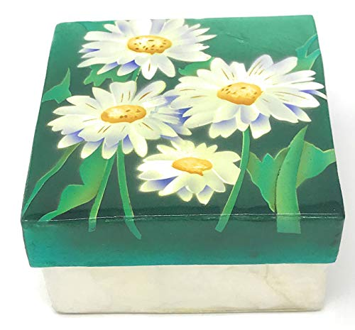 Kubla Crafts Daisies Capiz Shell Keepsake Box, 3 Inches Square