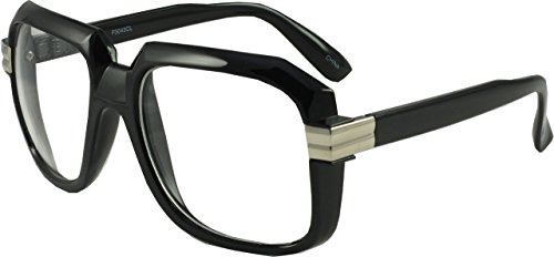 Revive Eyewear Men's Hip Hop New York 80's Retro Geeks Black Frame/ Clear Lens Non Polarized Glasses - Look New Glasses Geek