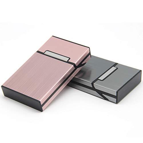 LORWING Cigarette Case 100's Slim Hard Metal Cigarette Box for Package Cigarettes Superkings & Superslim (2 Pack Dark Grey + Pink) ()
