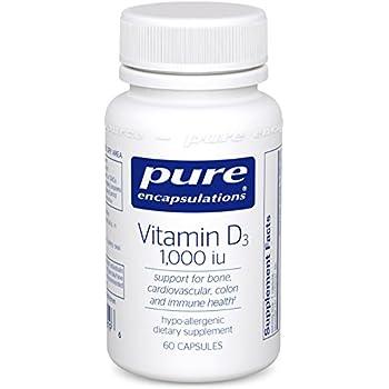 Pure Encapsulations - Vitamin D3 1,000 IU- Hypoallergenic Support for Bone, Breast, Prostate, Cardiovascular, Colon and Immune Health* - 60 Capsules
