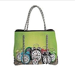 iPrint Neoprene Multipurpose Beach Bag Tote Bags,Clock Decor,A Group of Alarm Clocks on The Wooden Ground Digital Print Nostalgic Design,Lime Green,Women Casual Handbag Tote Bags