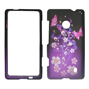 Purple Butterfly Flower Hard Case Cover Premium Protector for Nokia Lumia 521 520 (By At&t / Metro PCS / T-mobile)
