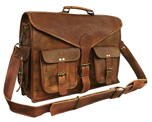 18 Inch Rustic Vintage Leather Messenger Bag Laptop Bag Briefcase Satchel Bag