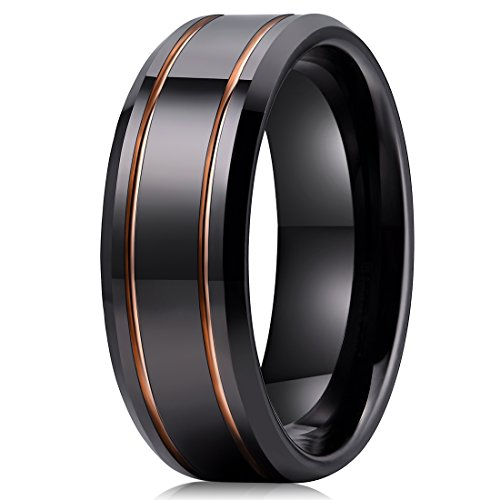 Edge Engagement Ring Setting - Three Keys Jewelry 8mm Tungsten Carbide Wedding Ring Engagement Band Black Polished Beveled Edge With Double Groove Plated Rose Gold Size 9