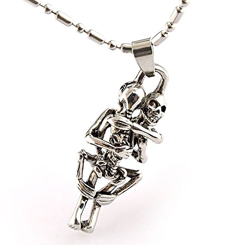(Bonnie Stainless Steel Pendant Necklace Gothic Skull Skeleton Hug Together Couples)