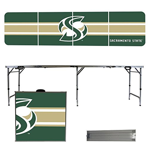 NCAA Sacramento State Hornets Stripe Version Portable Folding Tailgate Table, 8' by Victory Tailgate