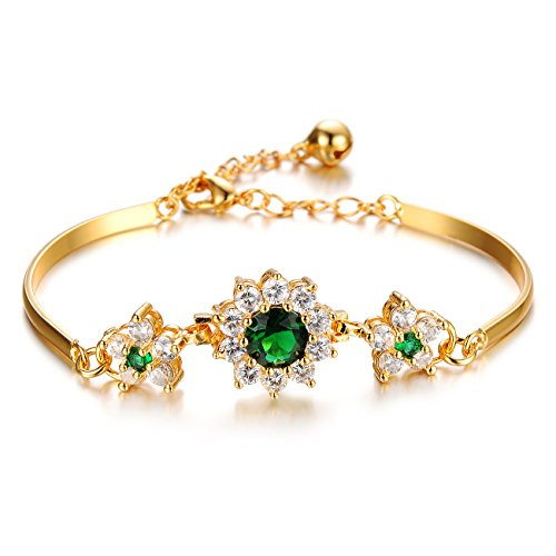 - L & J Charm Women 18K Gold Plated Bangle Bracelet with Green CZ Elegant Flowers,Link Chain with Bell,Adjustable
