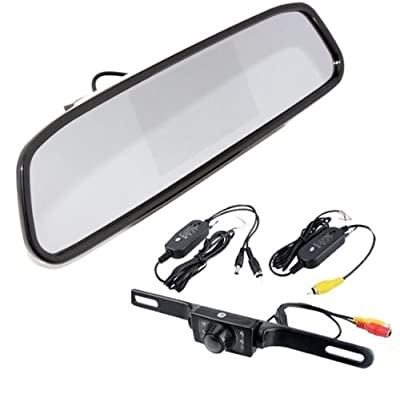 "CMA1303+CRCA0211 DIY Rear View Kit Wireless IR Reverse Car Backup Camera W/ 4.3"" Mirror Monitor"