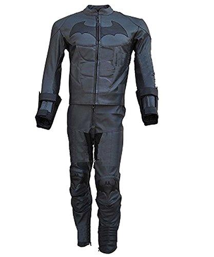 [Classyak Men's Batman Dark Knight Arkham Real Leather Motorcycle Suit Gray XX-Large] (Batman Arkham Suit)