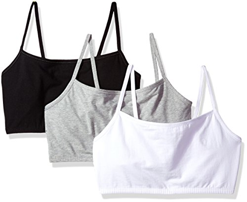 Fruit of the Loom Women's Cotton Pullover Sport Bra (Pack of 3), White/Grey Heather/Black Hue, 44 (Camisole Pullover Top)