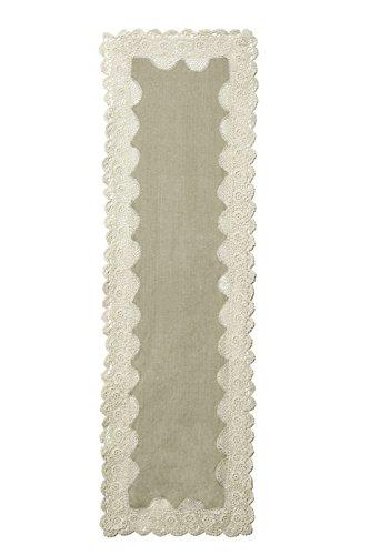 Heritage Lace brc-1654na), diseño con lazo, color azul crochet 40,6x 137,2cm Natural Camino de mesa
