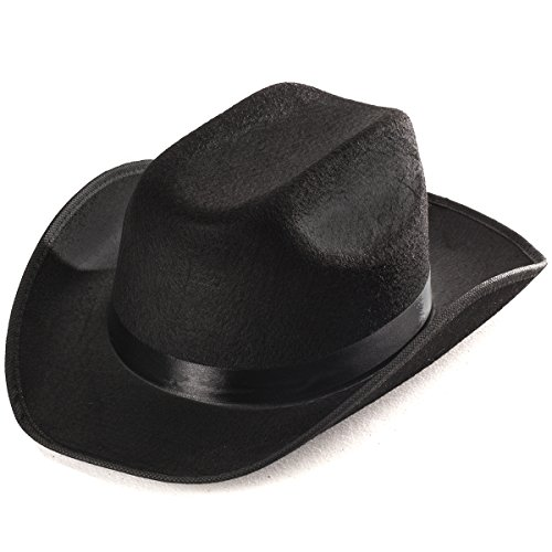 Adult Black Cowboy Hat Mens Womens Unisex Costume By Funny Party Hats