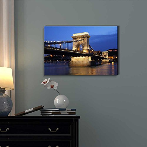 Chain Bridge and Danube River in Budapest at Night in Hungary Wall Decor