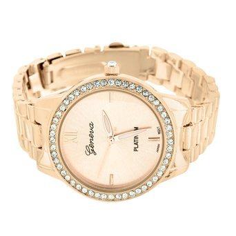 Acabado en oro rosa para mujer reloj Geneva Platinum Lab diamante bisel esfera rosa venta