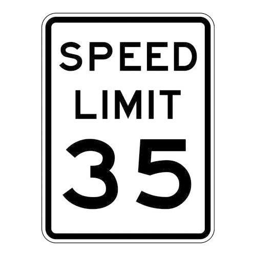 Brady 115643 Traffic Sign (Speed Limit 35), 24'' x 18'', Black/White by Brady